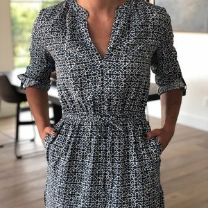 Blue and white patterned LOFT dress
